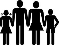 Family. Illustrated family mother father son and daughter stock illustration