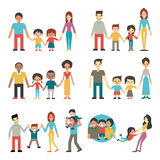 Family. Illustration character of people in happy family concept, father, mother, son and daughter. Diverse, multi-ethnic, american, african, hispanic, asian Stock Photos