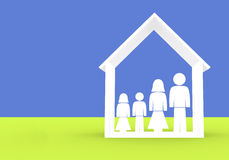 Family illustration - home insurance Stock Image