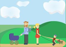 Family illustration. Outdoor spending time together Royalty Free Stock Image
