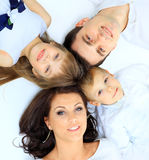 Family imitate a circle. Mother in the foreground Royalty Free Stock Photography