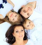 Family imitate a circle. Royalty Free Stock Photography