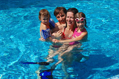 Free Family In The Pool Stock Image - 13021761