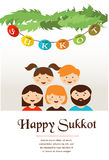 Family In The Sukkah . Sukkot Jewish Holiday Stock Image