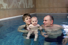 Family in indoor pool Stock Images
