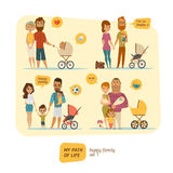 Family infographic with elements and characters Stock Image