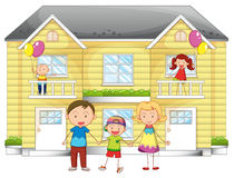 Family infront of house. Illustration of family infront of the house Royalty Free Stock Photo