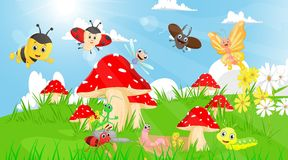 Family of insects in the garden with mushrooms and flowers Stock Photography