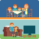 Family inside home illustration Royalty Free Stock Photo