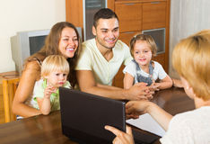 Family with insurance agent Stock Photo