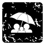 Family insurance concept icon, grunge style Stock Photography