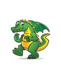 GREEN DRAGON CARTOON Royalty Free Stock Images