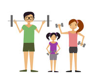 Family involved in sports. The mother and father and their child raising dumbbells Royalty Free Stock Photography