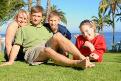 Family on island. Family of four in Catalina Island Stock Image