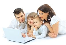 Family isolated on white Stock Image