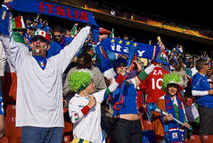 Family of Italy Soccer Supporters - FIFA WC. Family of soccer fanatics, supporting Italy Stock Images