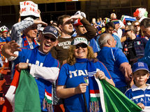Family of Italy Soccer Supporters - FIFA WC. Fans supporting Italy all dressed up in Italian colours to show support for the team at the 2010 FIFA soccer world Stock Photo