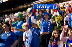 Family of Italy Soccer Supporters - FIFA WC. Fans supporting Italy all dressed up in Italian colours to show support for the team at the 2010 FIFA soccer world Stock Image