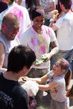 Family at IV Festival of colors Holi Barcelona Royalty Free Stock Images