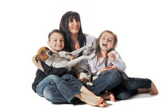 Family and  jack russel terrier Royalty Free Stock Photography