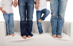 Family in jeans stock image