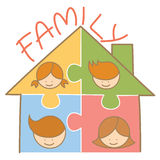 Family jigsaw house. Cartoon character of family jigsaw house Royalty Free Stock Images