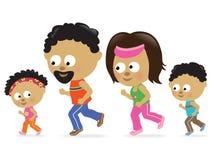 Family jogging (African American) stock illustration