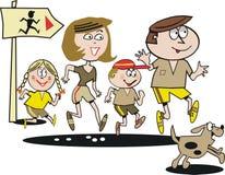 Family jogging cartoon. Cartoon of happy family jogging along trail with dog Stock Photos