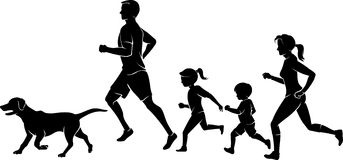 Family Jogging Exercise. Side view silhouette of members of the family and a Labrador dog Stock Photo