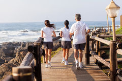 Family jogging. Rear view of active family jogging on beach together in the morning royalty free stock images