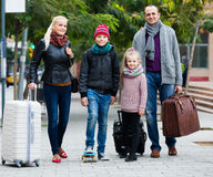 Family journey: spouses with children walking Stock Photography