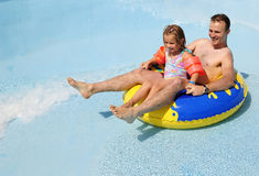 Family joy in water park Royalty Free Stock Images