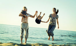 Family jump. Stock Photo