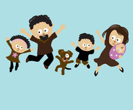 Family Jumping 2. Illustration of an African American family having fun