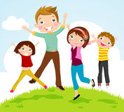 Family jumping. Illustration of family with two children jumping Royalty Free Stock Images