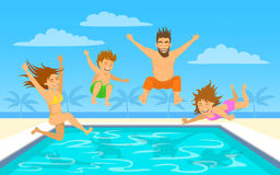 Family jumping diving into pool. Family on vacation vector illustration. Man, woman, their children, boy and girl, jumping diving into pool Royalty Free Stock Photos