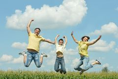 Family jumping on field Stock Photography