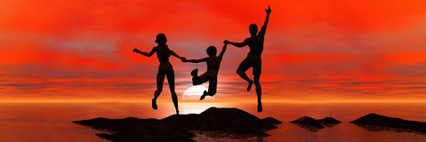 Family jumping in sea sunset Royalty Free Stock Image