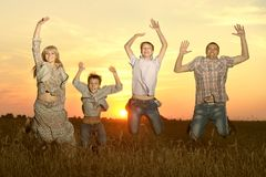 Family jumping Stock Photo
