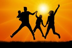 Family in jumping at sunset silhouette vector. Family in jumping at sunset silhouette vector Royalty Free Stock Photos
