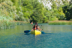 Family in kayak Stock Photo
