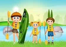 Family on kayak Royalty Free Stock Image