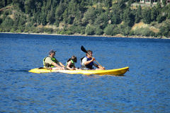 Family kayak in a lake Stock Photography