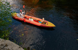 Family on kayak Stock Photography