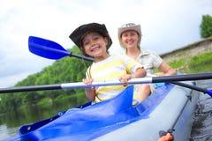 Family kayaking Stock Photo