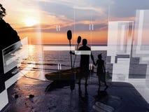 Family kayaking imagination background. Royalty Free Stock Photos