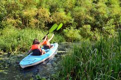 Family kayaking, mother and child paddling in kayak on river canoe tour having fun, active weekend and vacation, fitness co. Family kayaking, mother and child Royalty Free Stock Photo