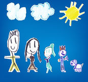 Family kid's hand drawn Royalty Free Stock Photos