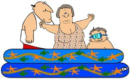 Family in a kiddie pool. This illustration depicts a man, woman and small boy in a kiddie pool Royalty Free Stock Photography