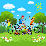 Family with kids concept of cycling in the park. Happy family riding bikes. The family in the park on bicycles. Vector Stock Photos